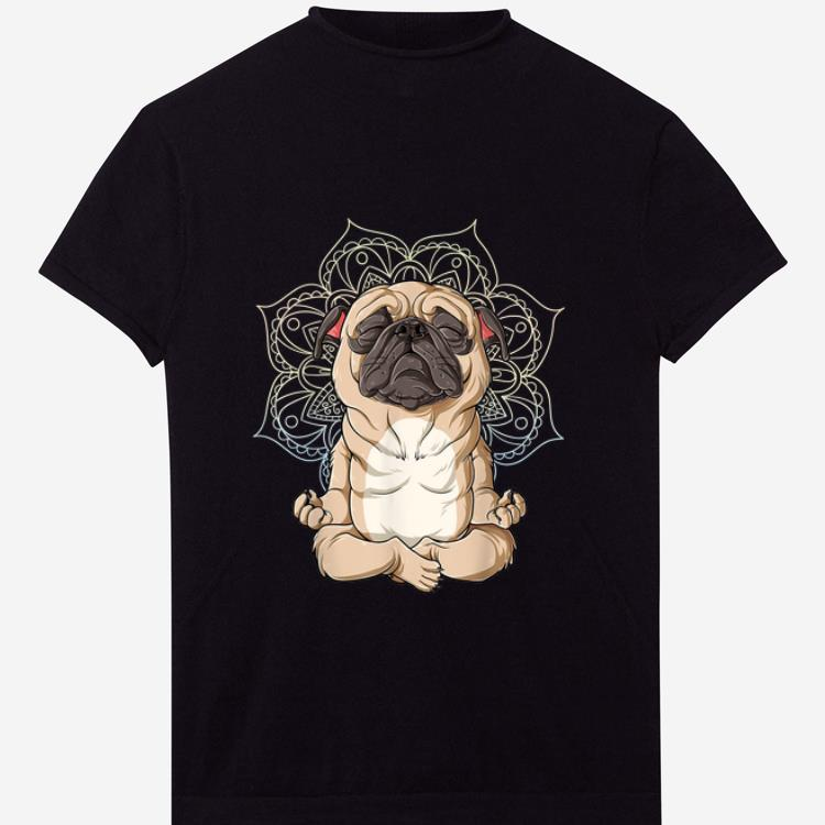 Pretty Pug Yoga Spiritual Meditation Mandala Let It Be shirt