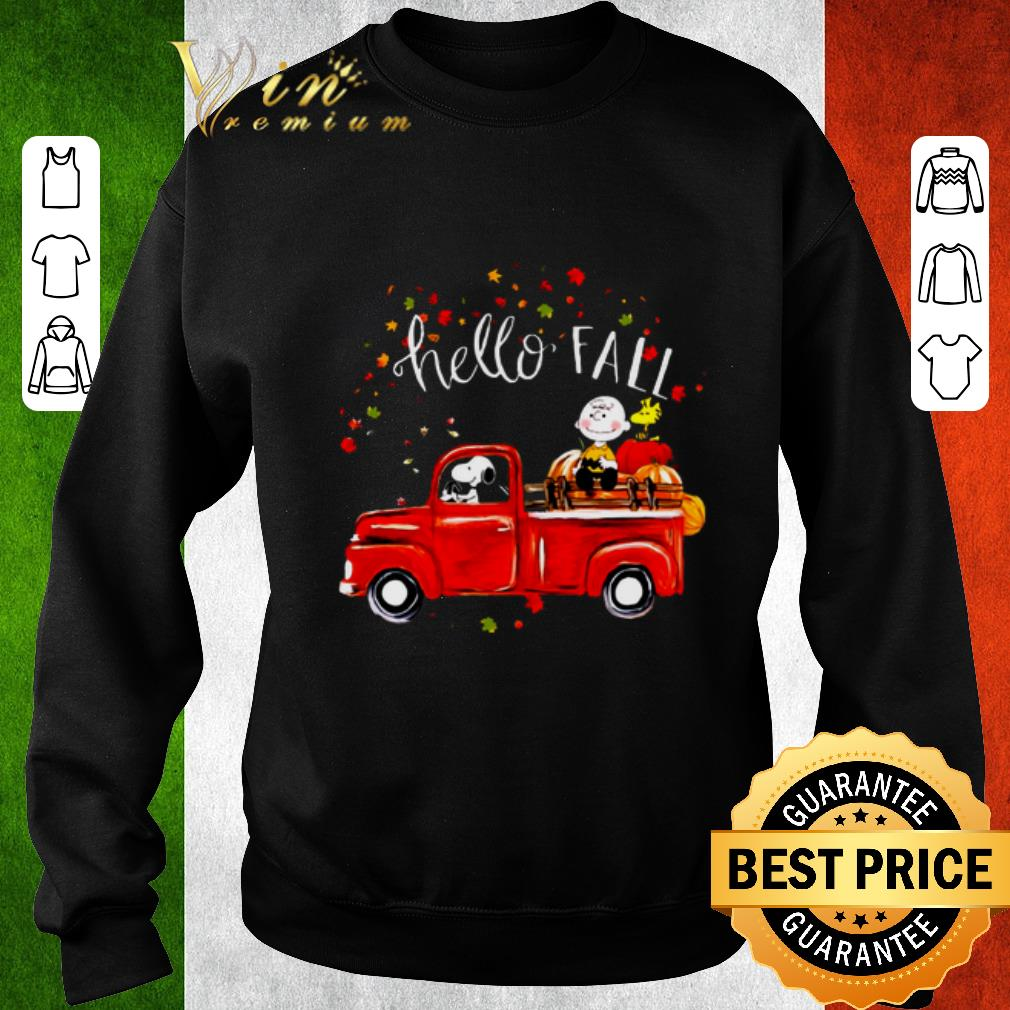 Awesome Hello fall Snoopy Driving Truck Charlie Brown Woodstock Hardvest shirt