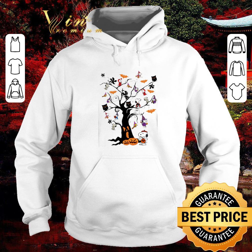 Funny Halloween Snoopy Woodstock owl bats ghost Boo on the tree shirt