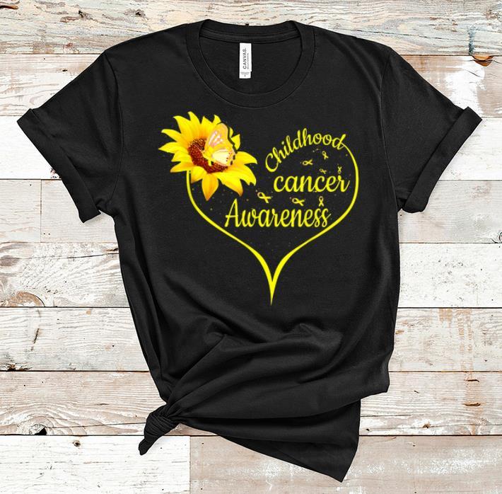 Hot Childhood Cancer Awareness Flower Butterfly Gold Ribbon shirt