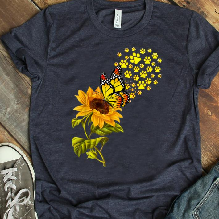 Hot Dog Paw Sunflower And Butterfly shirt