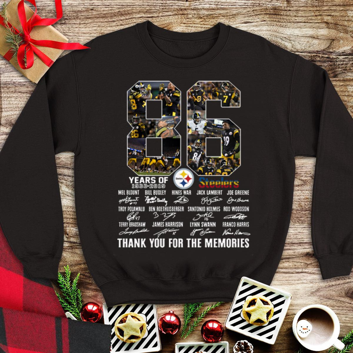 Hot Pittsburgh Steelers 86th Anniversary 1933-2019 Signatures shirt