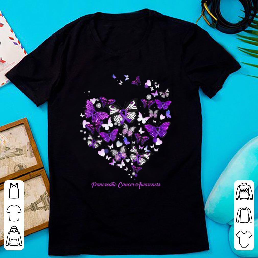 Nice Pancreatic Cancer Awareness Butterfly Heart shirt