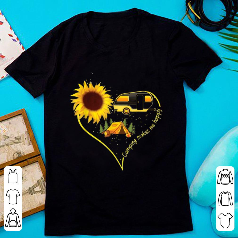 Official Camping Makes Me Happy Sunflower Camping Heart shirt