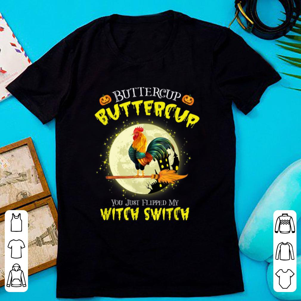 Official Roll over image to zoom in DTR Halloween Gift T-shirt Buckle Up Buttercup You Just Flipped My Witch Switch Chicken shirt