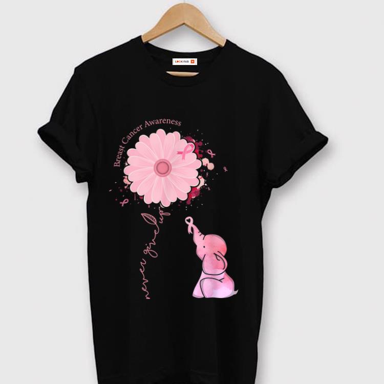 Premium Cute Pink Elephant Pink Ribbon Breast Cancer Awareness shirt