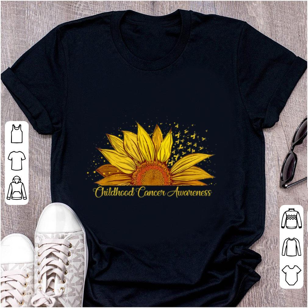 Pretty Sunflower Ribbon Childhood Cancer Awareness shirt