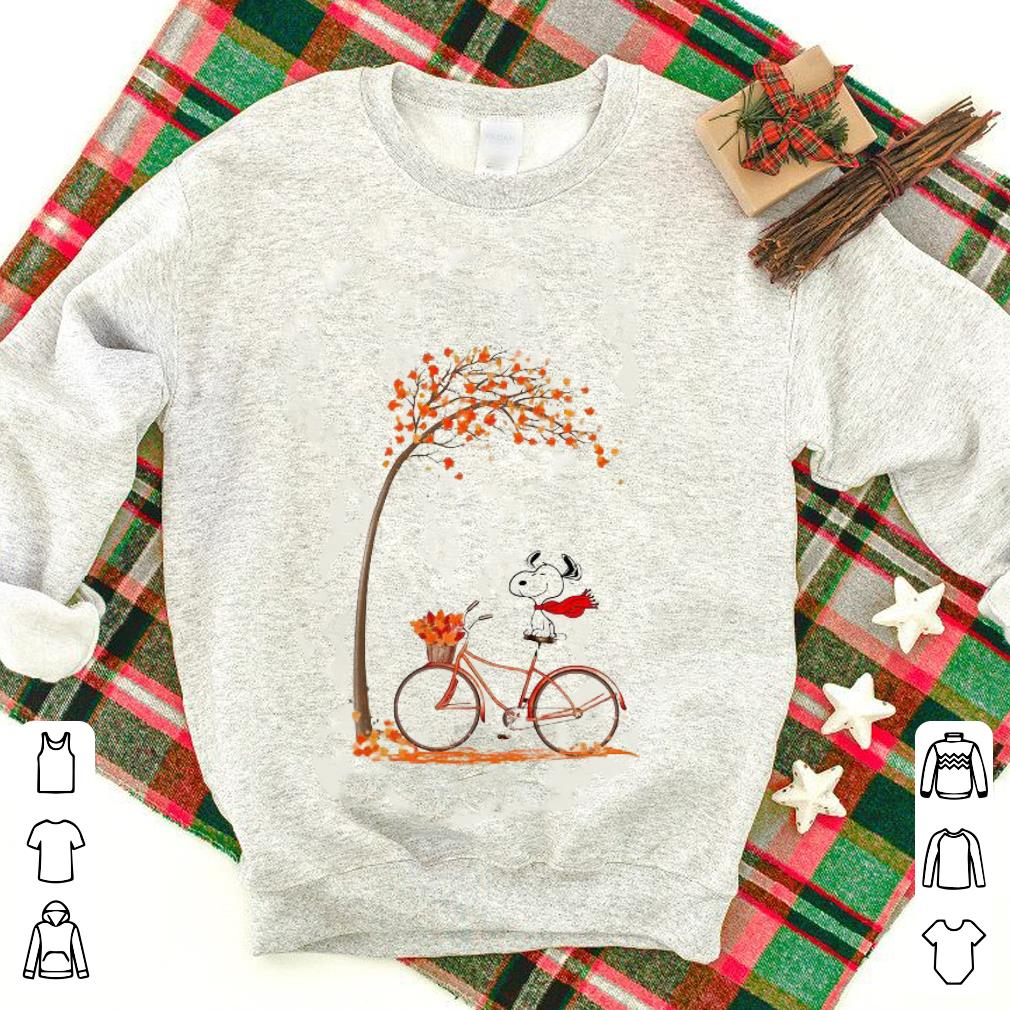 Top Snoopy riding bicycle autumn leaf tree shirt
