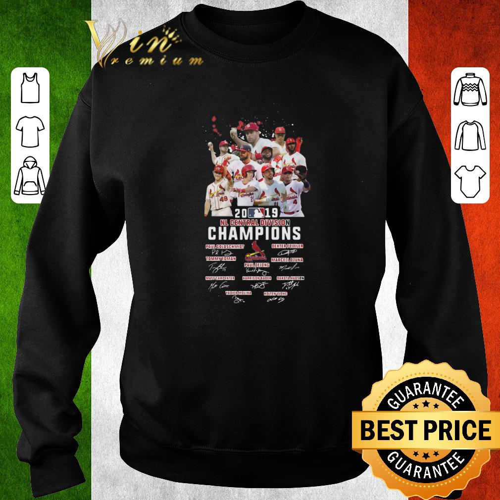 Funny St Louis Cardinals 2019 NL central division champions signatures shirt