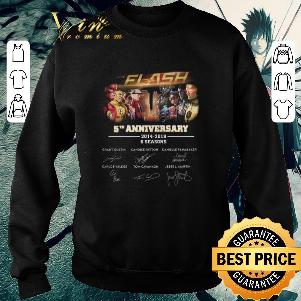 Original The Flash 5th anniversary 2014-2019 6 seasons signatures shirt
