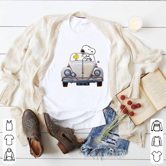 Pretty Snoopy and woodstock driving Volkswagen Beetle shirt