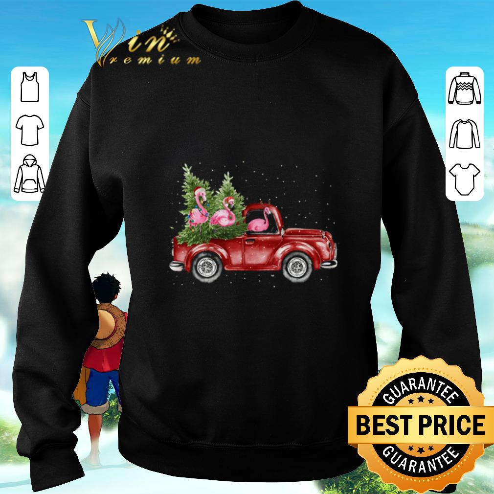 Awesome Flamingos ride red truck Christmas shirt