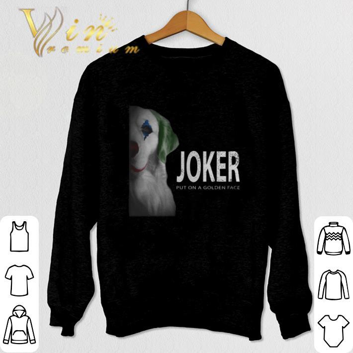 Funny Golden Retriever Joker put on a golden face shirt