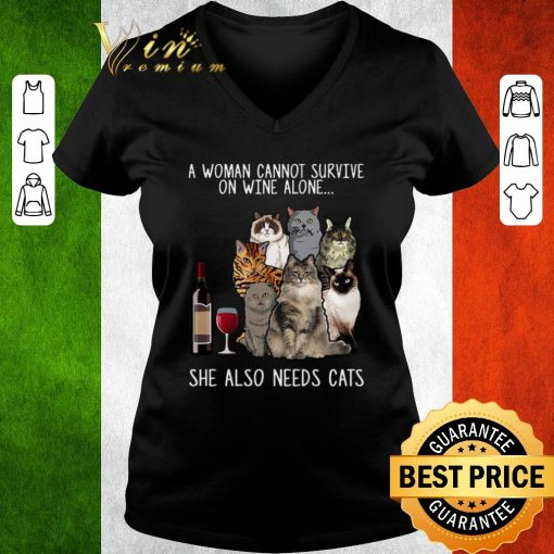 Pretty A woman cannot survive on wine alone she also needs cats shirt 3 1 510x510 - Pretty A woman cannot survive on wine alone she also needs cats shirt