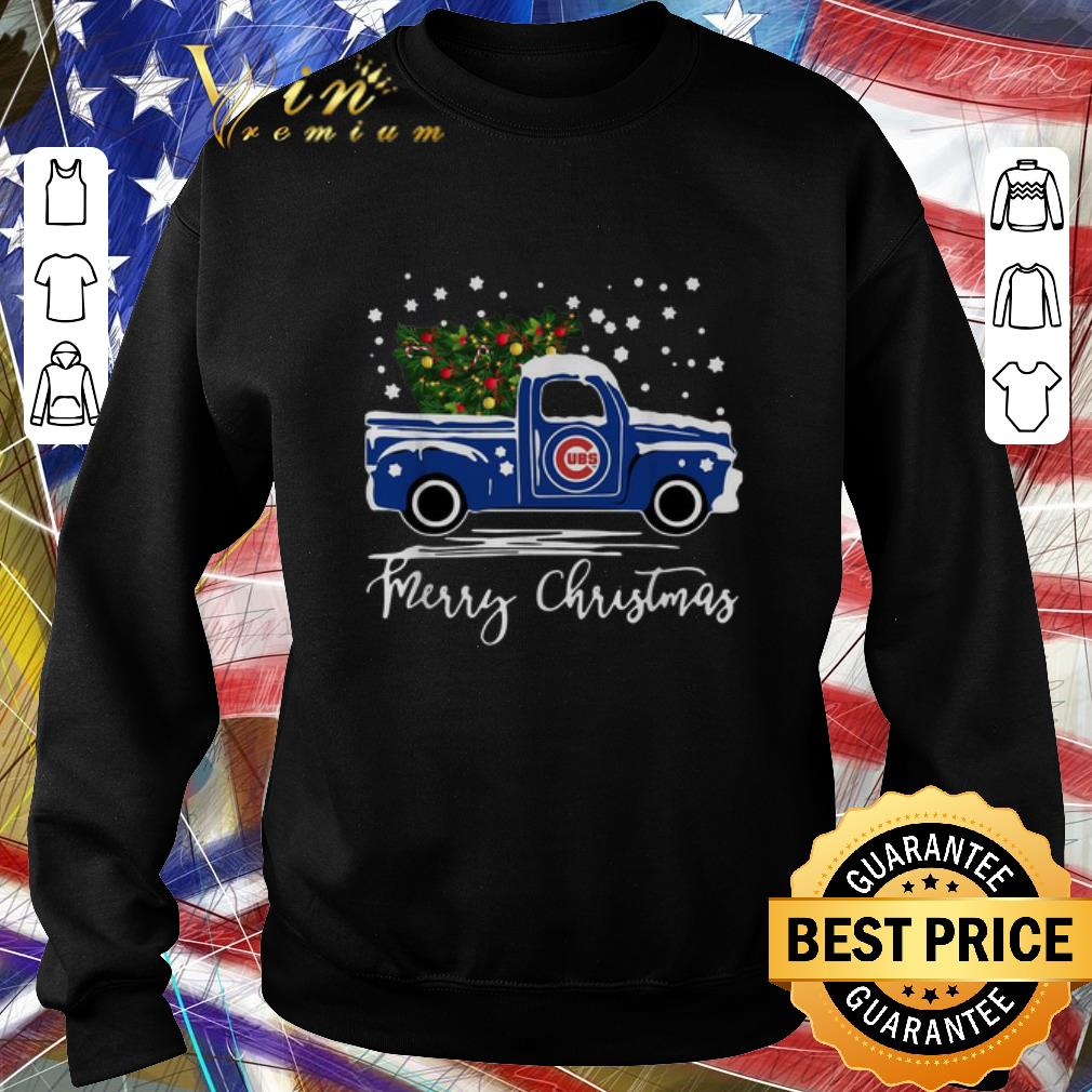 Pretty Chicago Cubs truck Merry Christmas shirt