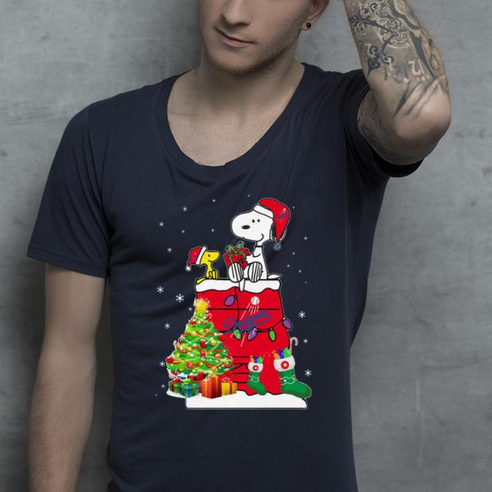 Pretty Los Angeles Dodgers Snoopy And Woodstock Christmas shirt