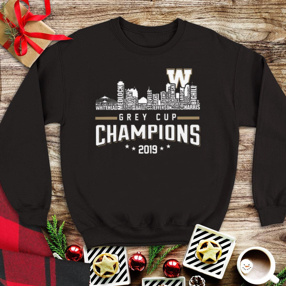 Awesome 107th Grey Cup Blue Bombers Building Players Champions 2019 sweater