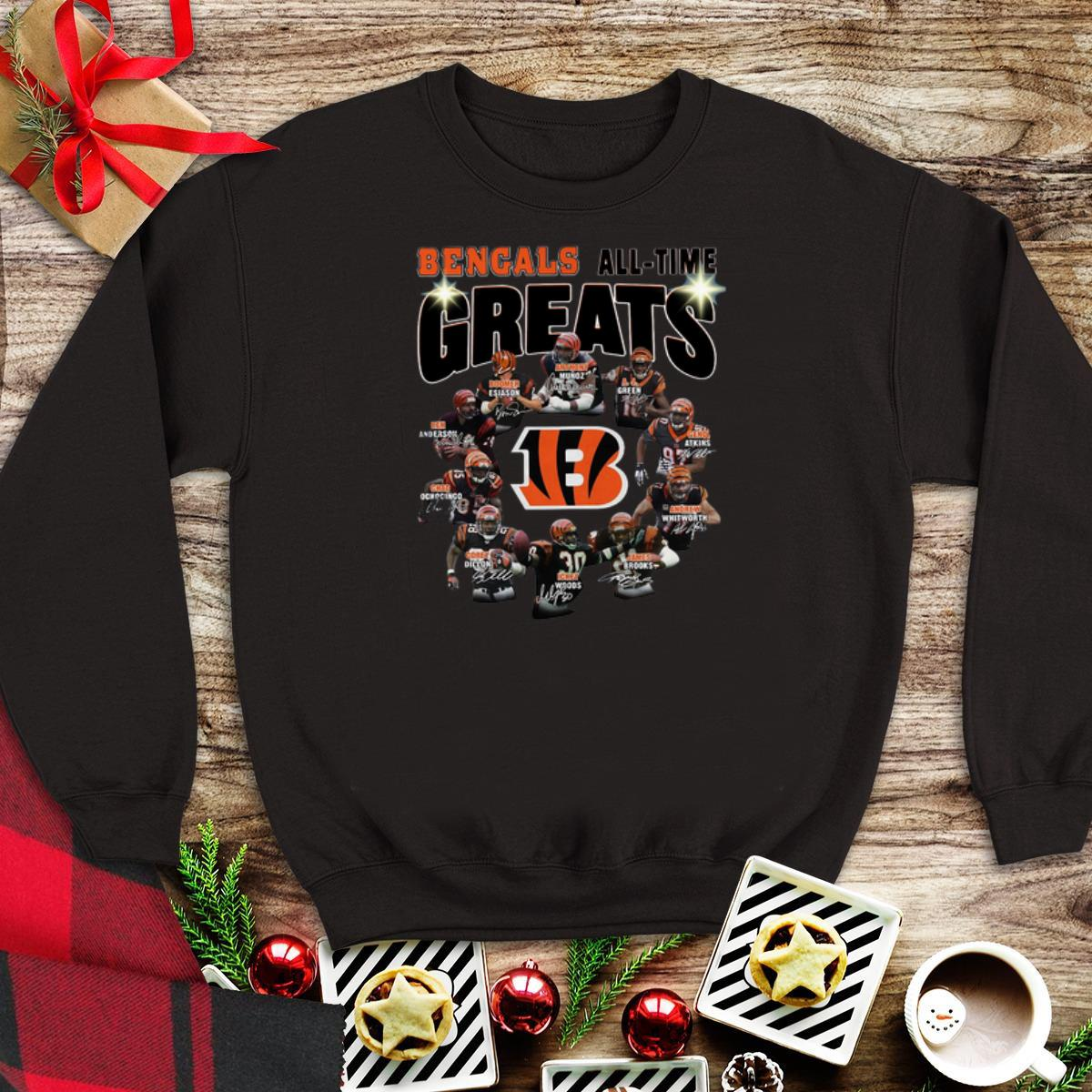 Awesome Cincinnati Bengals all time great players signatures sweater