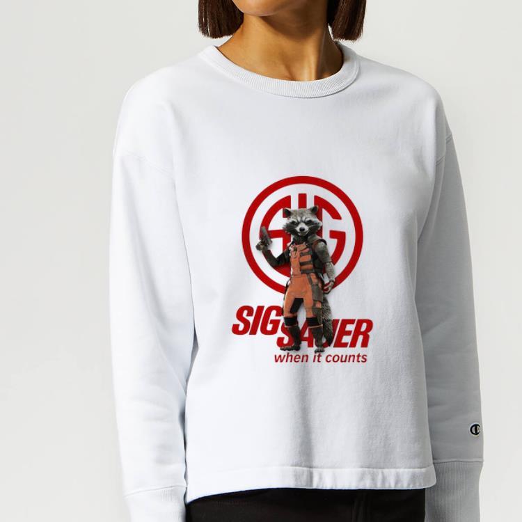 Great Rocket Raccoon Marvel Sig Sauer When It Counts shirt