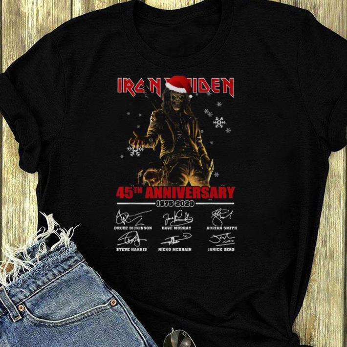 Hot Iron Maiden Santa 45th anniversary 1975 2020 signatures shirt