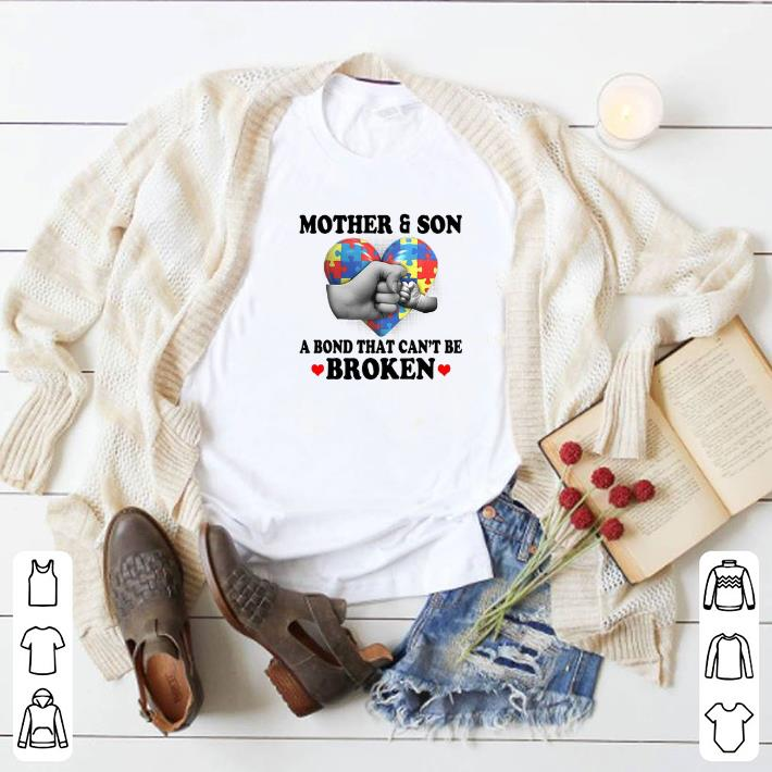 Official Mother & Son A Bond That Can't Be Broken Autism Awareness shirt