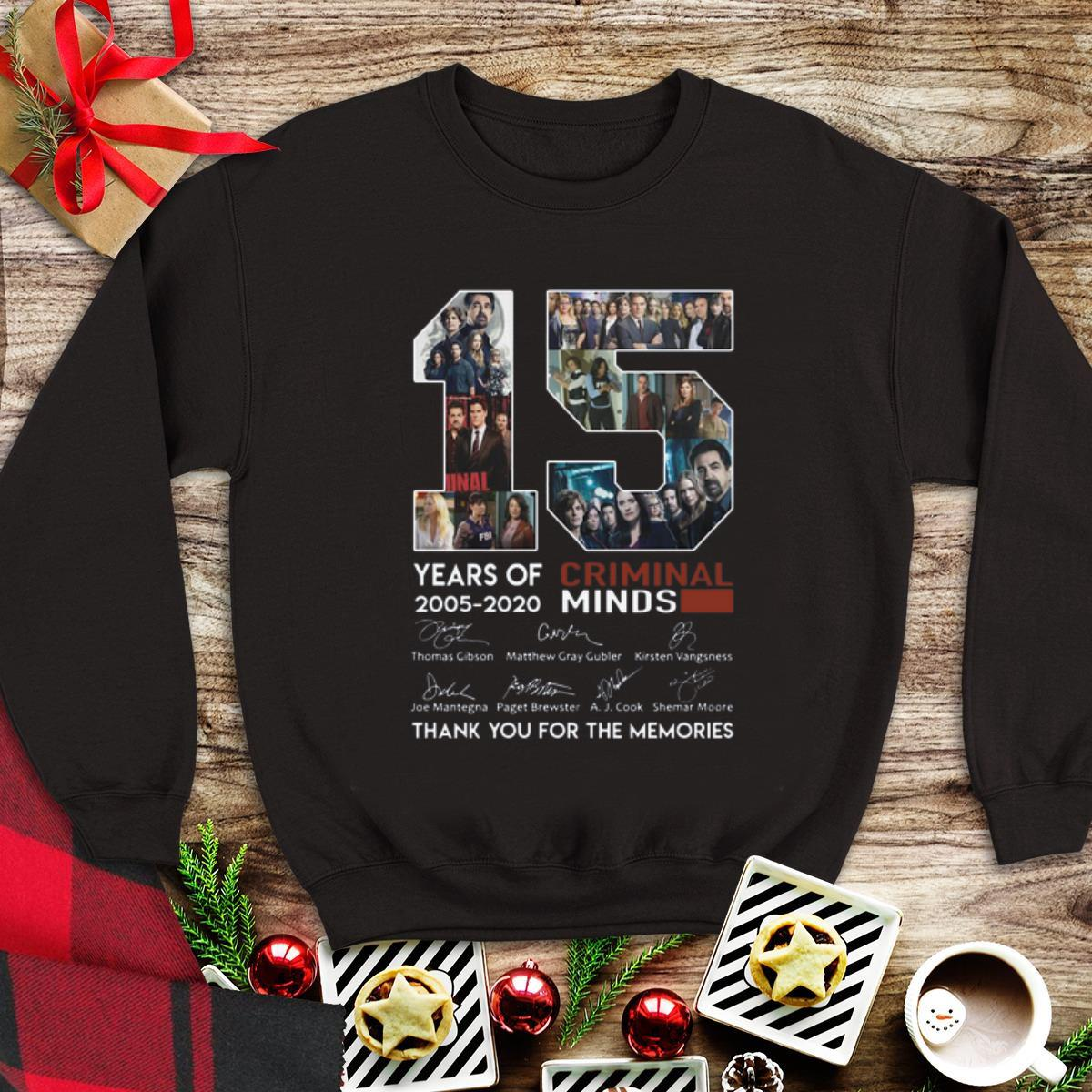 Awesome 15 years of Criminal Minds thank you for the memories signature shirt