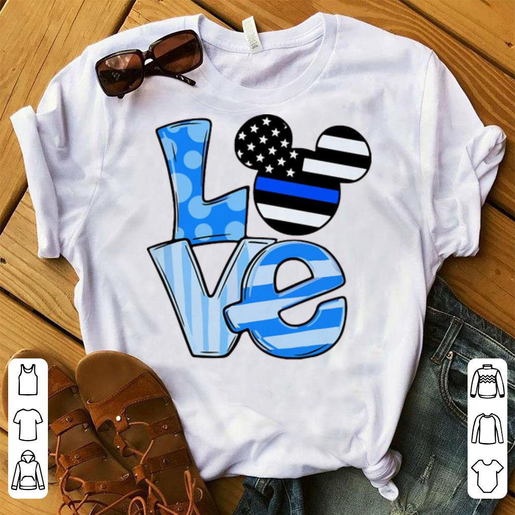 Hot Mickey Mouse Love Thin Blue Line Flag shirt 1 1 - Hot Mickey Mouse Love Thin Blue Line Flag shirt