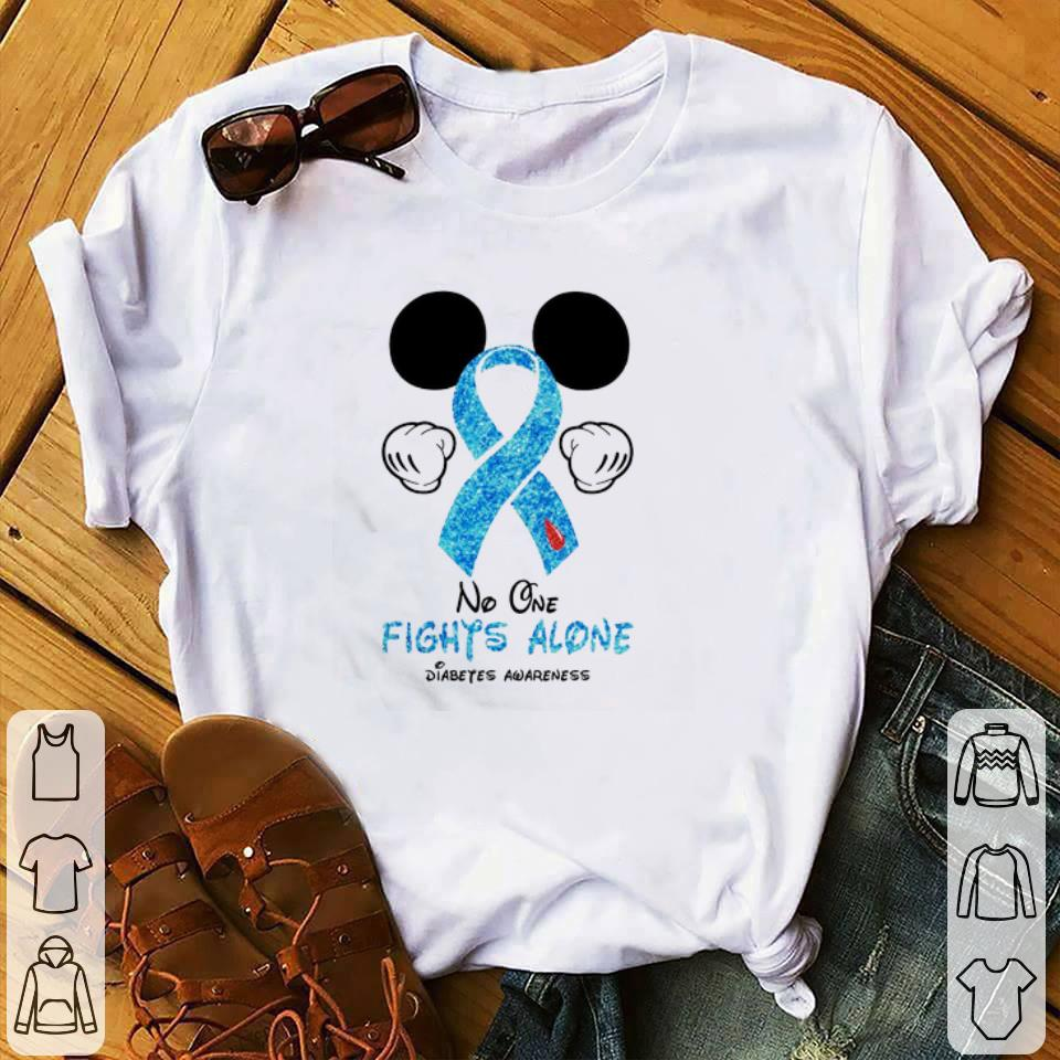 Premium Mickey Mouse No one fights alone Diabetes Awareness shirt 1 1 - Premium Mickey Mouse No one fights alone Diabetes Awareness shirt