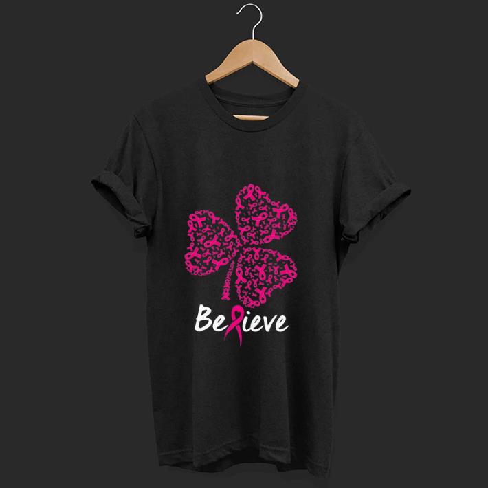 Top Believe Pink Ribbon Shamrock Breast Cancer Awareness shirt 1 1 - Top Believe Pink Ribbon Shamrock Breast Cancer Awareness shirt