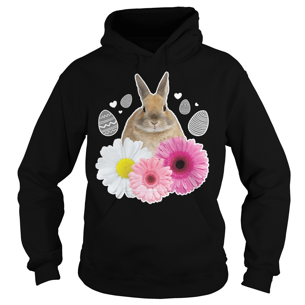 Easter Real Bunny And Flowers Graphic Hoodie - Easter Real Bunny And Flowers Graphic Shirt