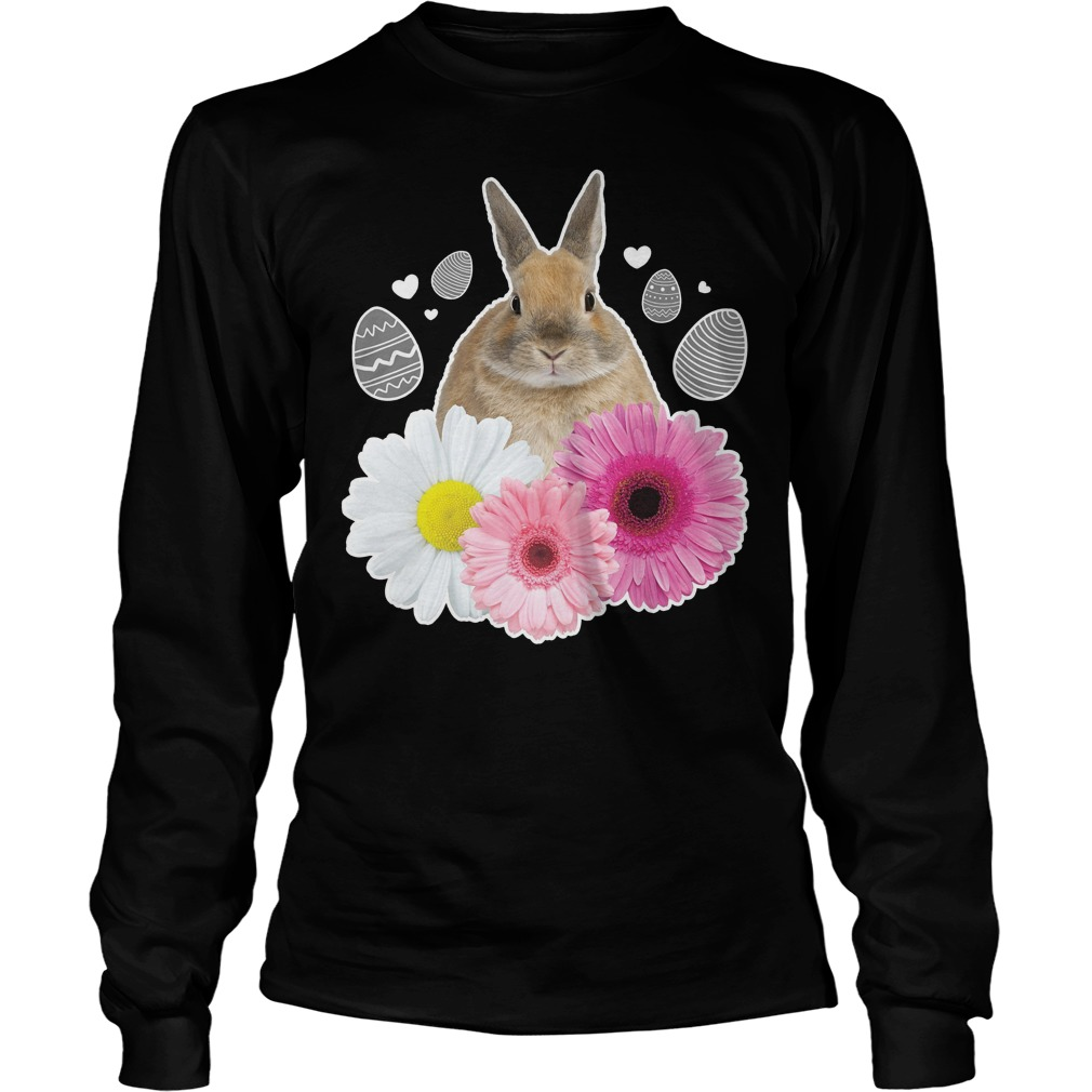Easter Real Bunny And Flowers Graphic LOngsleeve - Easter Real Bunny And Flowers Graphic Shirt