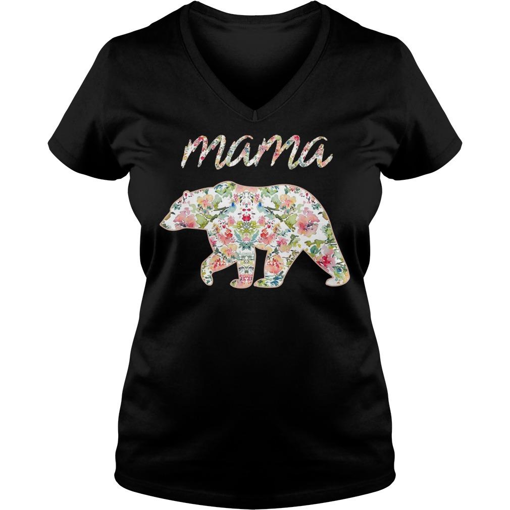 Mama Bear Floral V neck - Mama Bear Floral Shirt