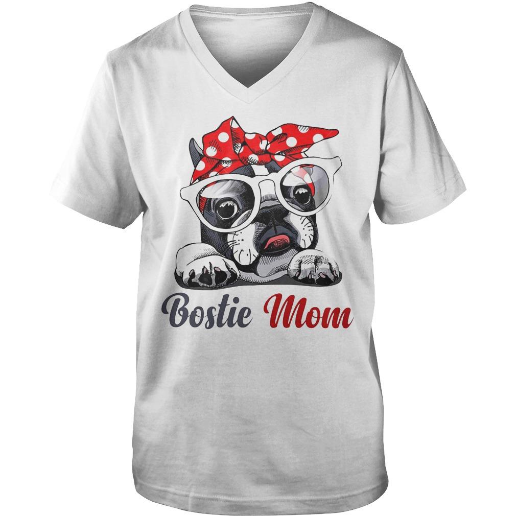 Bostie Mom Dog V neck - Bostie Mom Dog Shirt