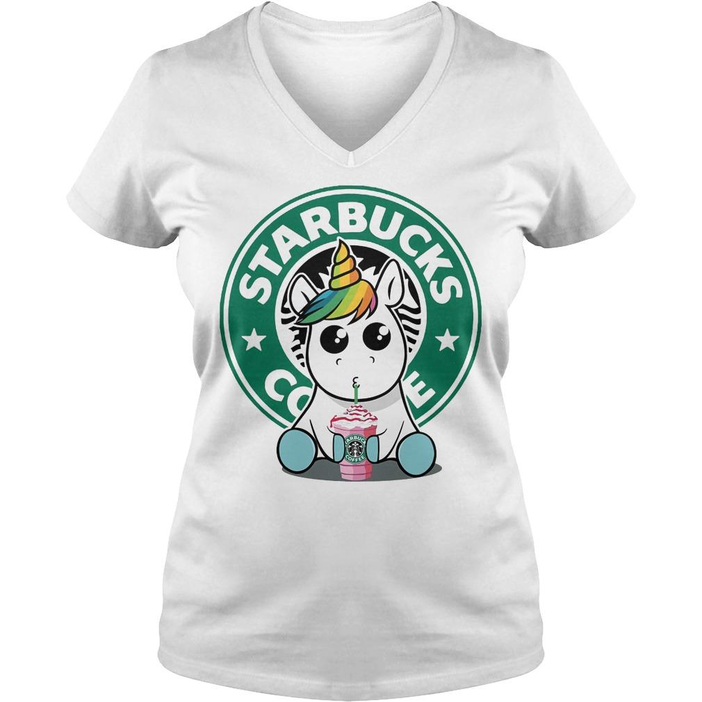 Unicorn Drink Starbucks Coffee V neck - Unicorn Drink Starbucks Coffee Shirt