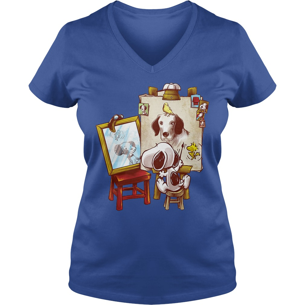 Look At Snoopy In The Mirror V neck - Look At Snoopy In The Mirror Shirt