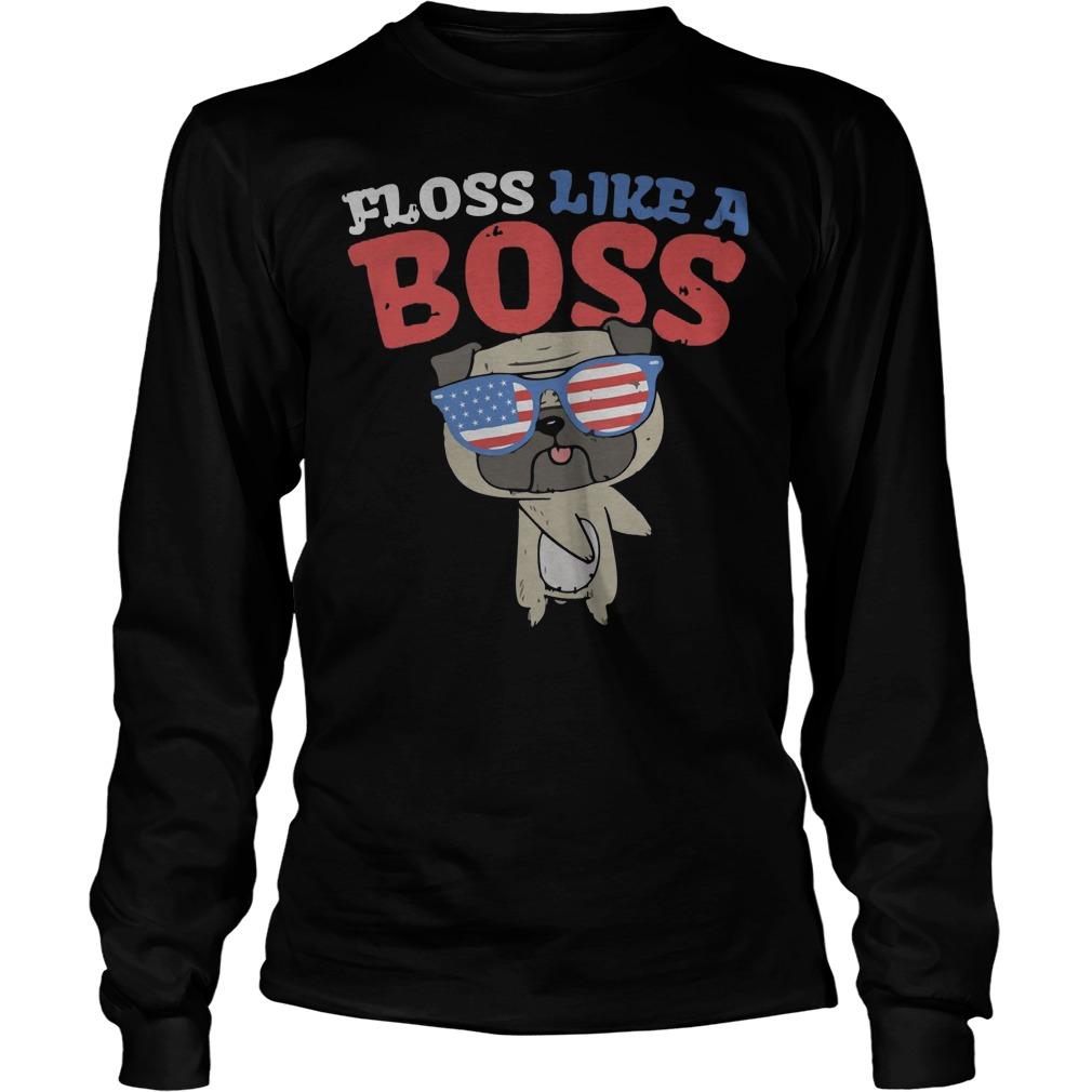 Pug floss like a boss dance america flag glasses t-shirt