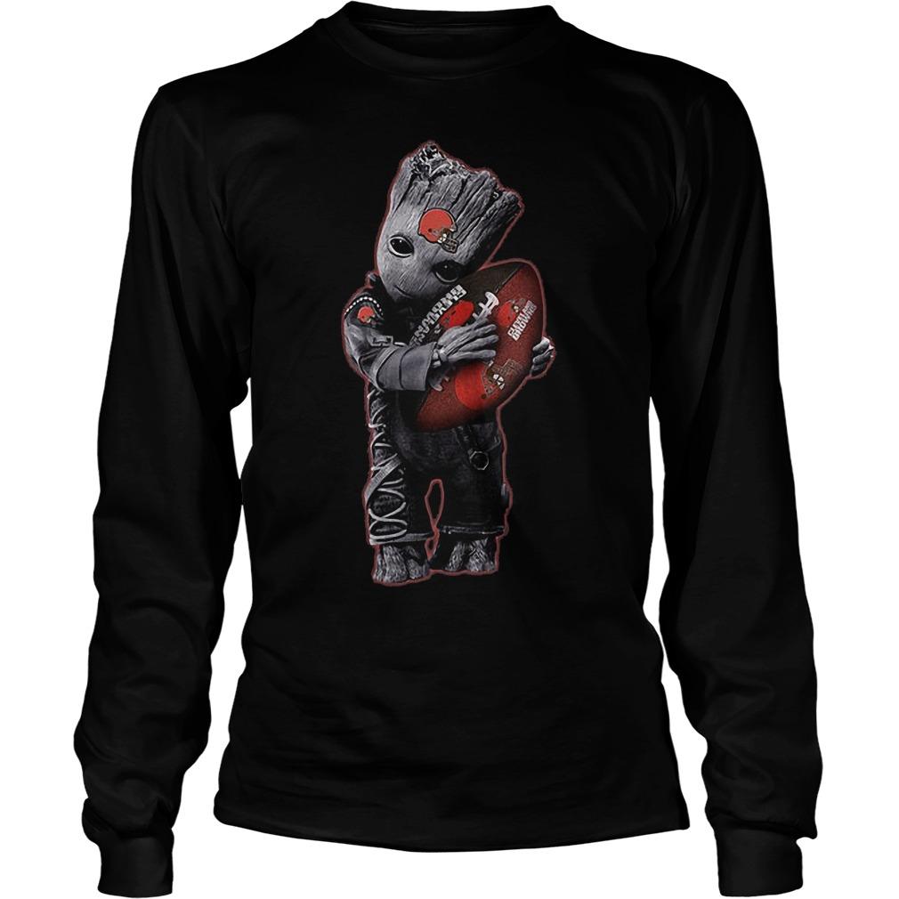 Baby Groot Hug Cleveland Browns Football Nfl T Shirt