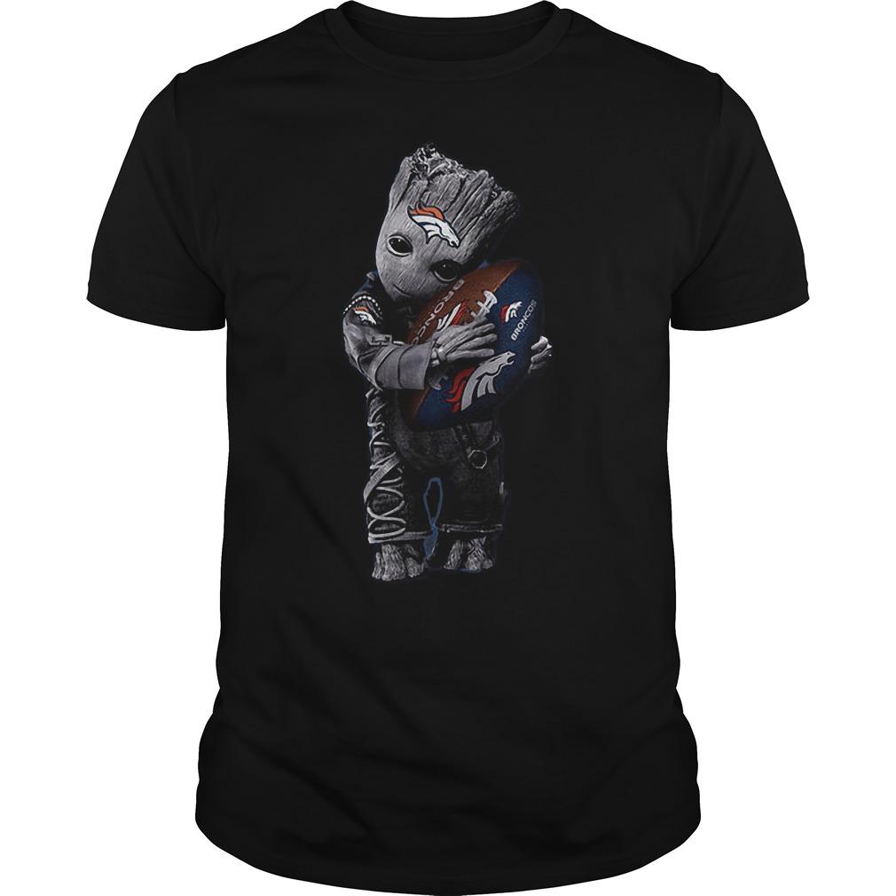 Baby Groot Hug Denver Broncos Football NFL T Shirt Guys Tee - Baby Groot Hug Denver Broncos Football NFL T-Shirt