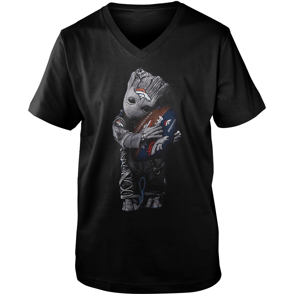 Baby Groot Hug Denver Broncos Football NFL T Shirt Guys V Neck - Baby Groot Hug Denver Broncos Football NFL T-Shirt