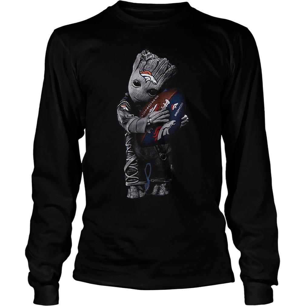Baby Groot Hug Denver Broncos Football NFL T Shirt Unisex Longsleeve Tee - Baby Groot Hug Denver Broncos Football NFL T-Shirt