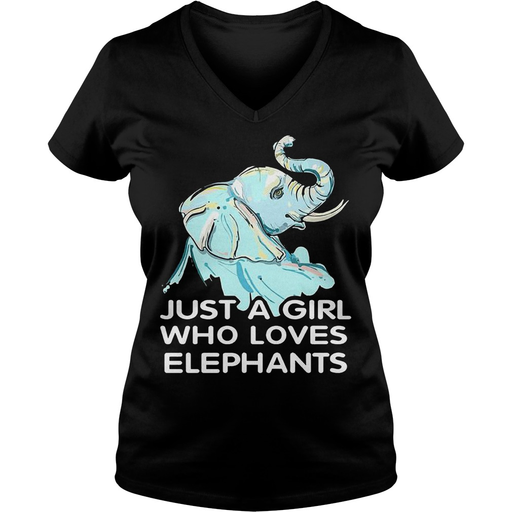 Just A Girl Who Loves Elephants T Shirt Ladies V Neck - Just A Girl Who Loves Elephants T-Shirt