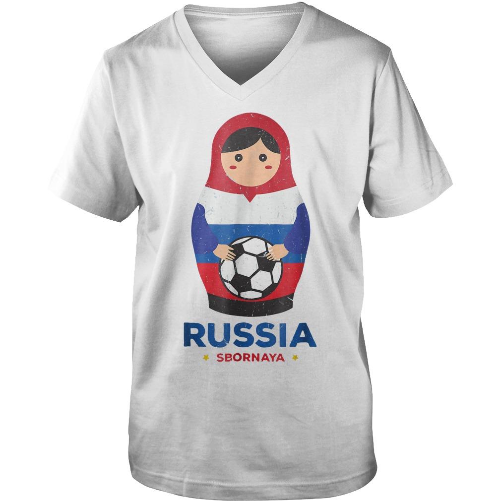 Matryoshka Russia Russian World Cup 2018 T Shirt Guys V Neck - Matryoshka Russia Russian World Cup 2018 T-Shirt