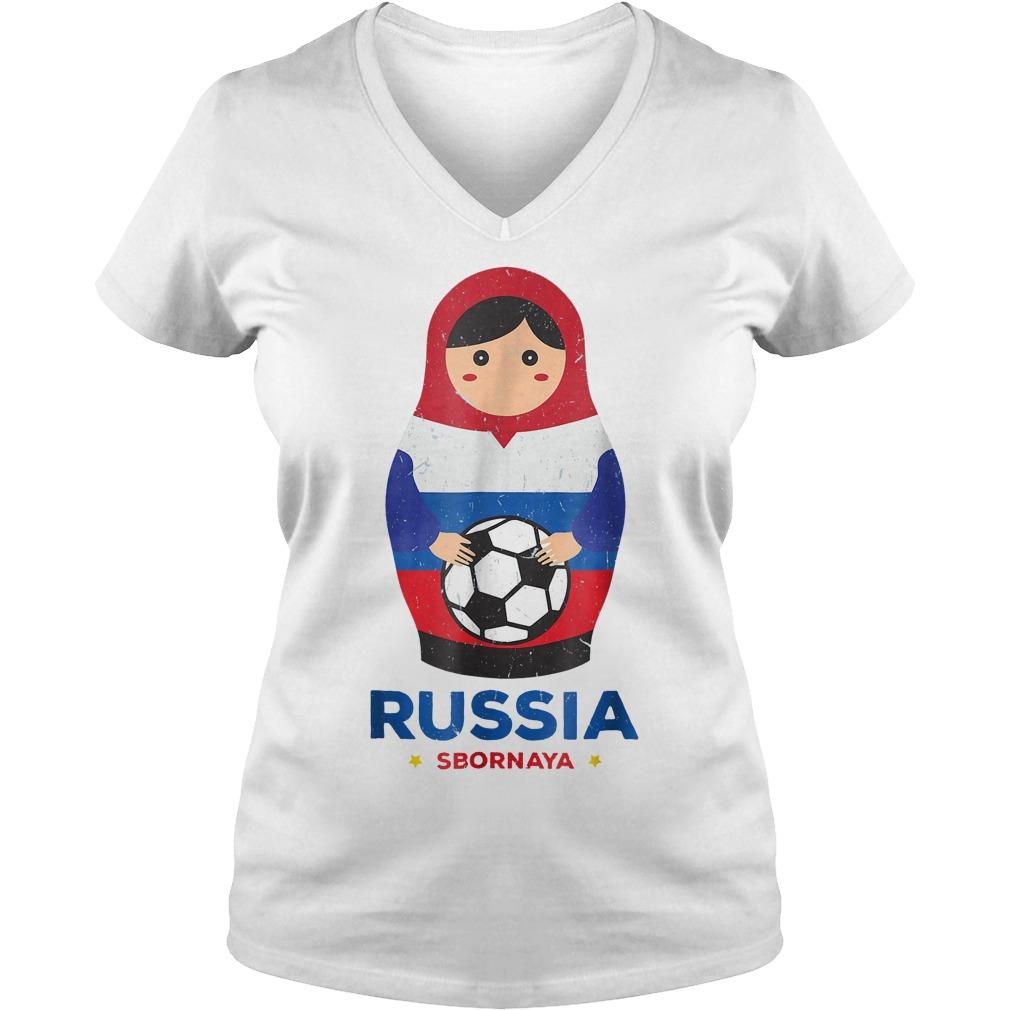 Matryoshka Russia Russian World Cup 2018 T Shirt Ladies V Neck - Matryoshka Russia Russian World Cup 2018 T-Shirt