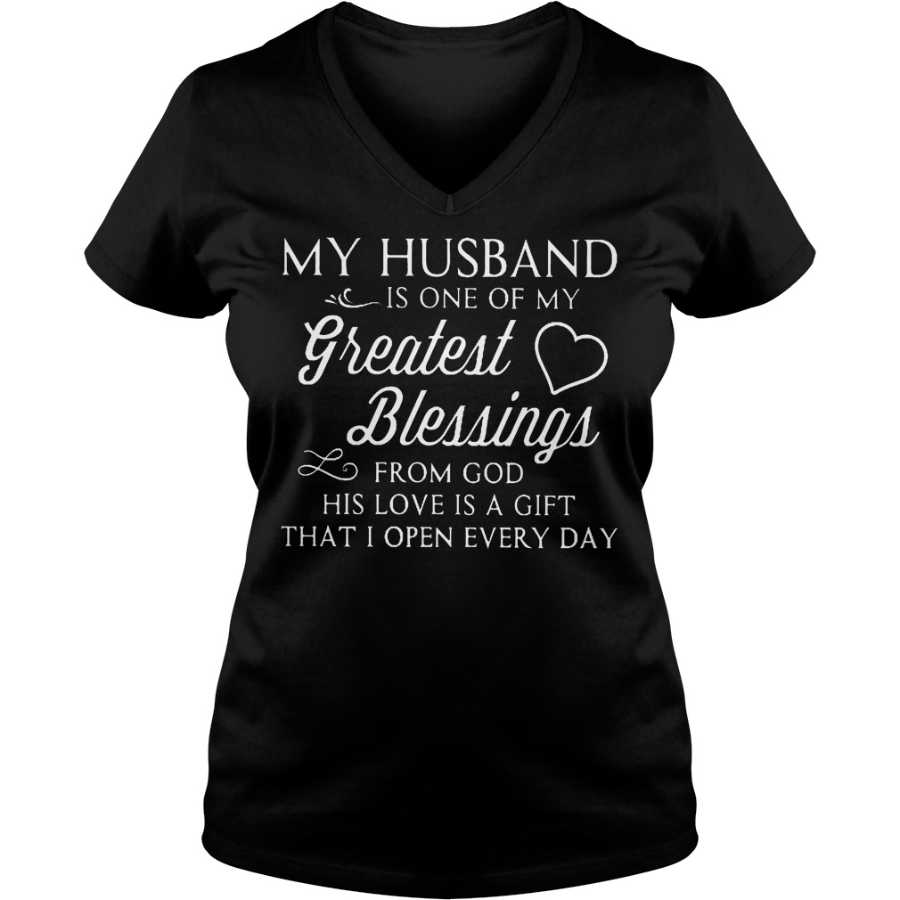 My Husband Is My Greatest Blessings T Shirt Ladies V Neck - My Husband Is My Greatest Blessings T-Shirt