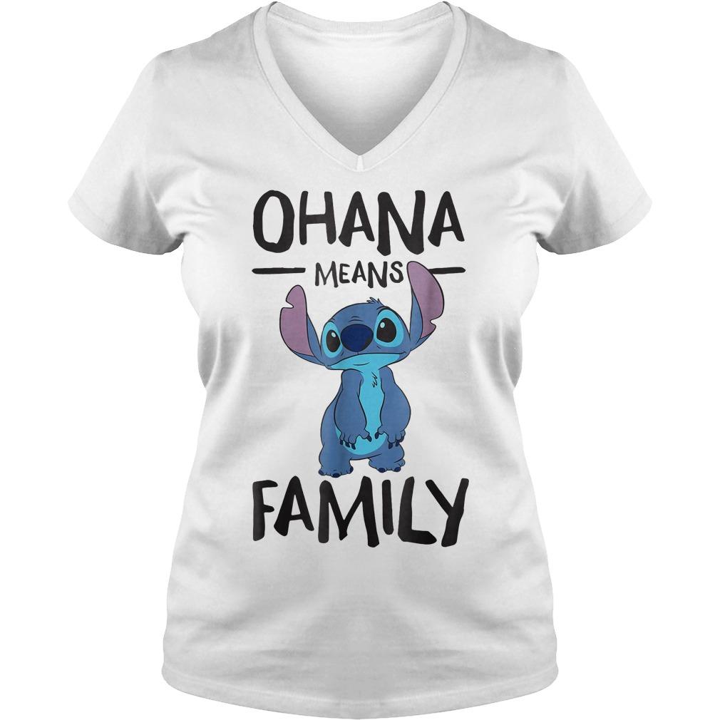 Official Disney Ohana Means Family Stitch T Shirt Ladies V Neck - Official Disney Ohana Means Family Stitch T-Shirt