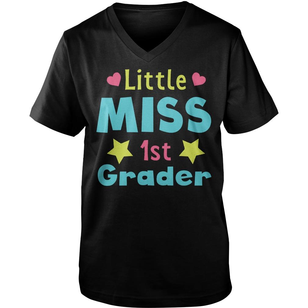 Premium Little Miss 1st Grader T Shirt Guys V Neck - Premium Little Miss 1st Grader T-Shirt