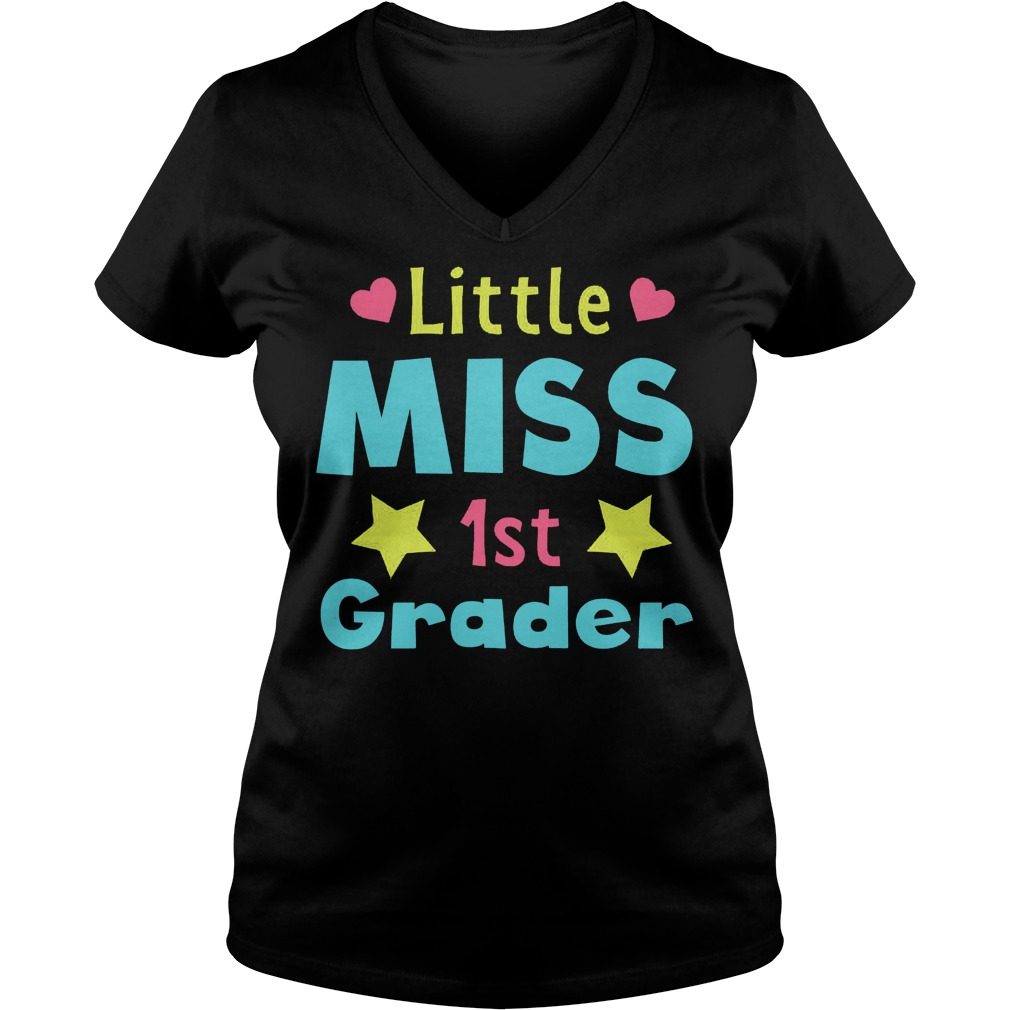 Premium Little Miss 1st Grader T Shirt Ladies V Neck - Premium Little Miss 1st Grader T-Shirt