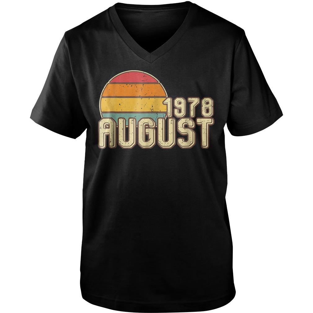Premium Vintage August 1978 40th Birthday T Shirt Guys V Neck - Premium Vintage August 1978 - 40th Birthday T-Shirt