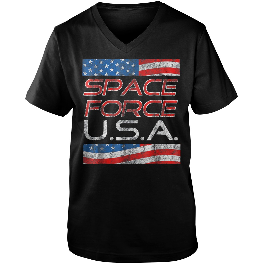 Space Force Vintage USA Trump Military Patriotic 2020 Guys V Neck - Space Force Vintage USA Trump Military Patriotic 2020 T-Shirt