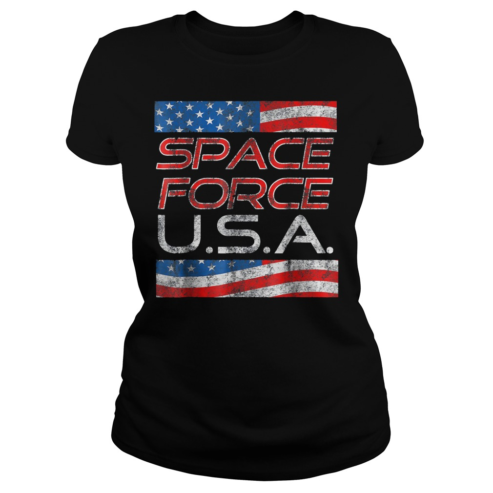 Space Force Vintage USA Trump Military Patriotic 2020 Ladies Tee - Space Force Vintage USA Trump Military Patriotic 2020 T-Shirt